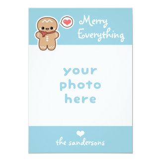 Cute Merry Everything Gingerbread Man Christmas Card