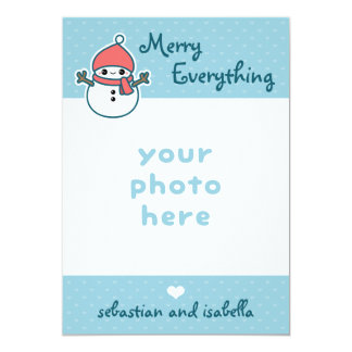 Cute Merry Everything with Snowman Photo Card