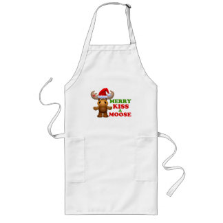 Cute Merry Kiss A Moose Christmas Long Apron