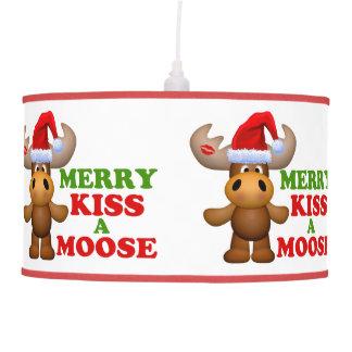 Cute Merry Kiss A Moose Christmas Pendant Lamps