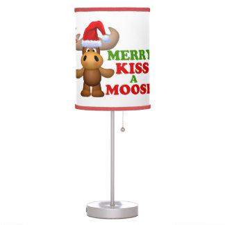 Cute Merry Kiss A Moose Christmas Table Lamps