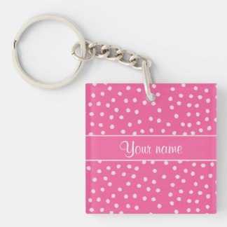 Cute Messy White Polka Dots Pink Background Double-Sided Square Acrylic Keychain