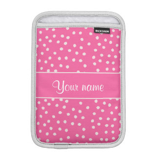 Cute Messy White Polka Dots Pink Background iPad Mini Sleeves