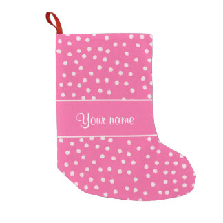 Cute Messy White Polka Dots Pink Background Small Christmas Stocking