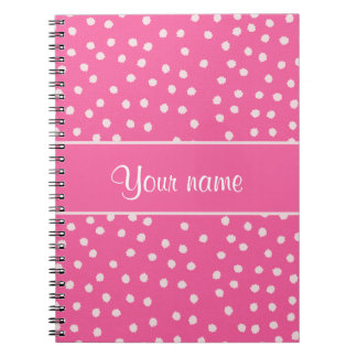 Cute Messy White Polka Dots Pink Background Spiral Notebooks