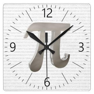 Cute metal pi character square wall clock