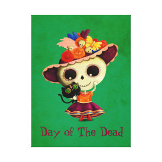 Cute Mexican Day of The Dead Girl Canvas Print