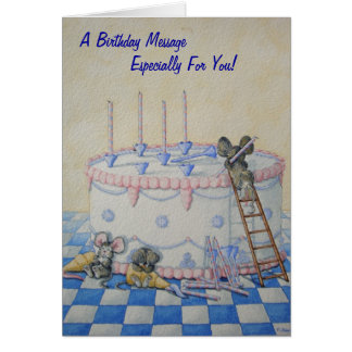 Cute mice birthday cake original illustration card