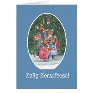 Cute Mice Carol Singers Flemish Greeting Card