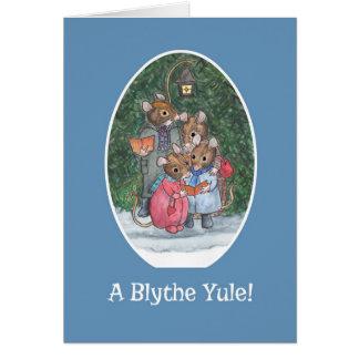 Cute Mice Carol Singers Scots Christmas Card