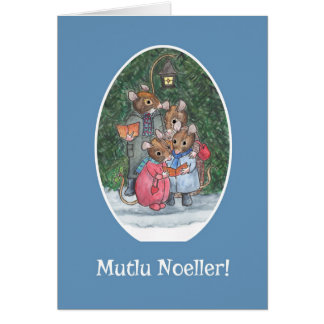 Cute Mice Carol Singers Turkish Christmas Card