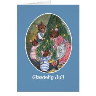 Cute Mice Decorating Christmas Tree Danish Card