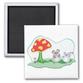 cute mice in mushroom garden square magnet