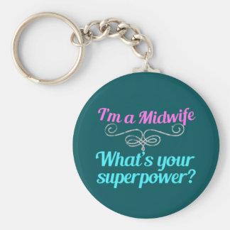 Cute Midwife Superhero Keychain
