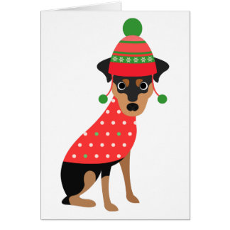 Cute Min Pin Dog Christmas Card