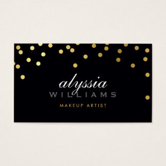 CUTE mini confetti shiny gold foil bold black Business Card
