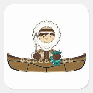 Cute Mini Inuit Fisherman in Kayak Sticker