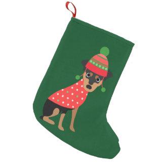 Cute Miniature Pinscher/ Doberman Xmas Stocking Small Christmas Stocking