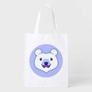 Cute Minimalist Cartoon Polar Bear Grocery Bag