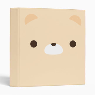 Cute Minimalist Cream Teddy Bear Face Binders