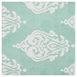 Cute mint and white damask ikat tribal patterns fabric