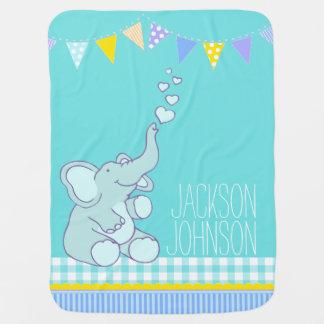 Cute mint aqua named elephant baby blanket