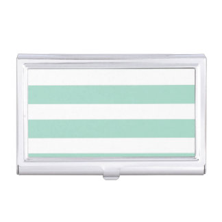Cute Mint Blue stripe pattern Business Card Cases
