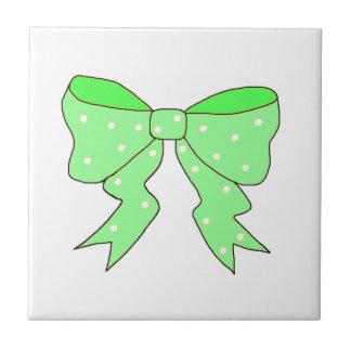 Cute Mint Bow Ceramic Tile