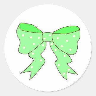 Cute Mint Bow Round Sticker