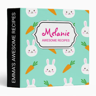 Cute Mint bunnies and carrots easter pattern 3 Ring Binder