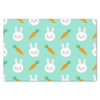 Cute Mint bunnies and carrots easter pattern Tissue Paper