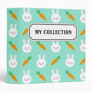 Cute Mint bunnies and carrots easter pattern Vinyl Binders