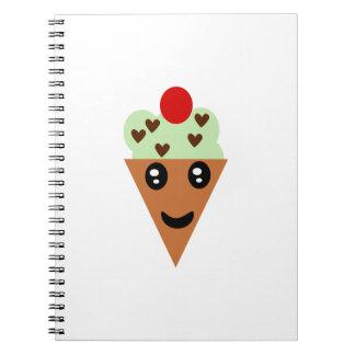 Cute Mint Chocolate Chip Ice Cream Notebook