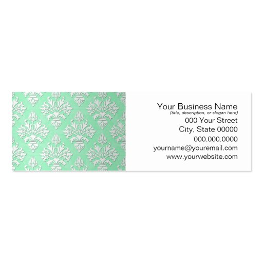 Cute Mint Green and White Floral Damask Pattern Business Card Templates