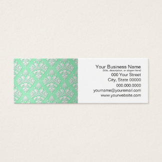 Cute Mint Green and White Floral Damask Pattern Mini Business Card