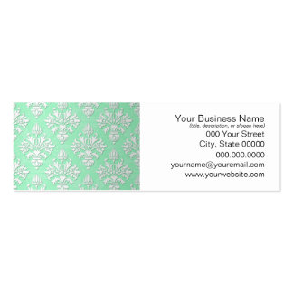 Cute Mint Green and White Floral Damask Pattern Pack Of Skinny Business Cards