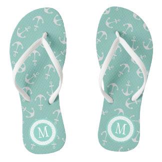 Cute Mint Green Nautical Monogram Flip Flops