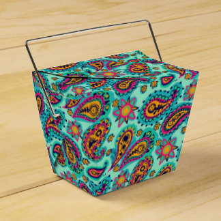 Cute Mint Green Pink Paisley Pattern Boho Party Favor Boxes