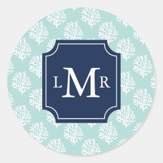 Cute Mint Summer Pattern and Blue Monogram Classic Round Sticker