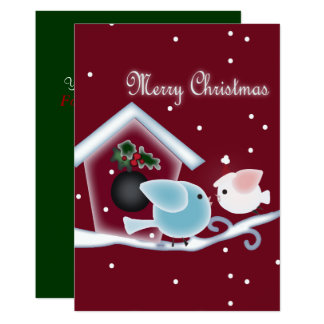 Cute mistletoe Love Birds Our First Christmas Card