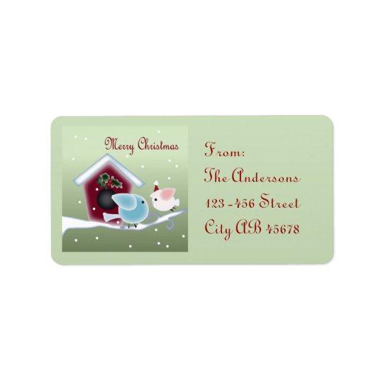 Cute mistletoe Love Birds Our First Christmas Label