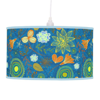 Cute mixed blue paisley colorful flowers patterns pendant lamp