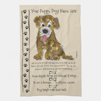 Cute Mixed Breed Cartoon Dog Quotes Kitchen Towel