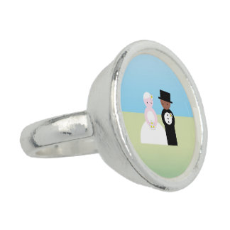 Cute mixed wedding couple ring