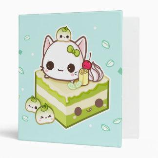 Cute mochi kitty with kawaii green tea cake vinyl binder