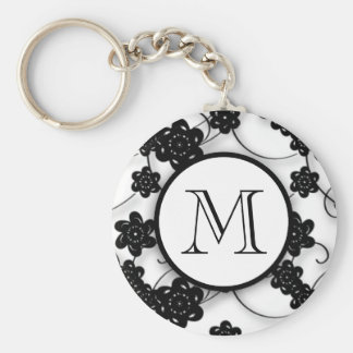 Cute Mod Black Flowers Pattern, Your Initial Basic Round Button Keychain
