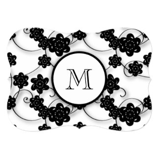 """Cute Mod Black Flowers Pattern, Your Initial 5"""" X 7"""" Invitation Card"""