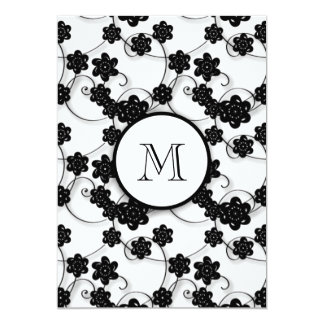 Cute Mod Black Flowers Pattern, Your Initial Announcements