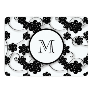 Cute Mod Black Flowers Pattern, Your Initial 5x7 Paper Invitation Card