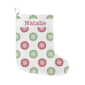 cute mod fun red green, snowflakes stockings large christmas stocking